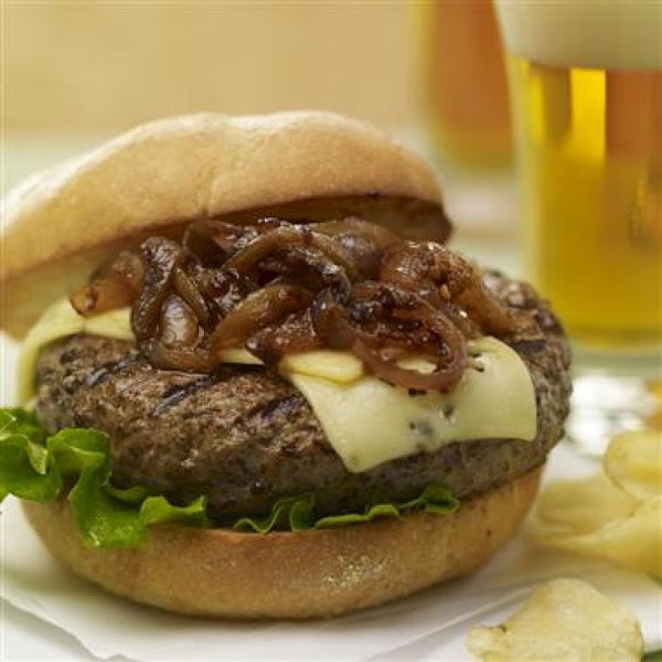 Brew Burgers With Carmelized Onions Recipe