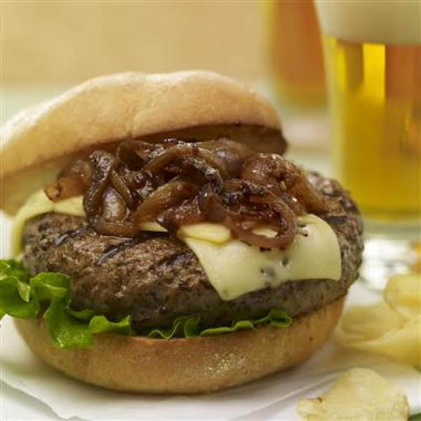 Brew Burgers With Carmelized Onions