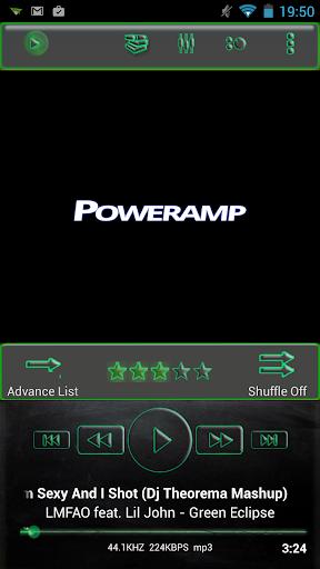 Poweramp Skin Green Glass