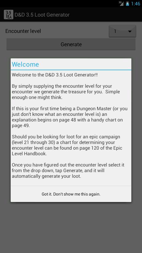 Скриншот D&D 3.5 Loot Generator