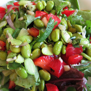 Edamame Salad with Red Bell Pepper.