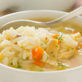 Slow Cooker Cream of Chicken and Rice Soup.