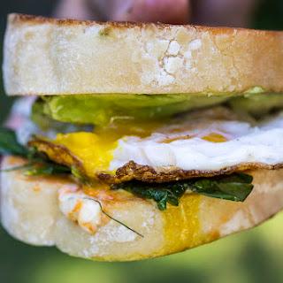 Pea Shoot And Avocado Breakfast Sandwich.