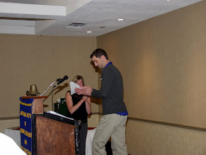 Photo: Membership Chair Adam Moons introduced the new members