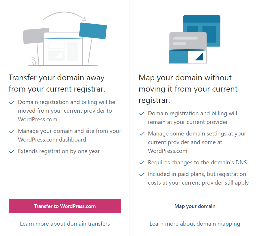 options for choosing and transfering domain