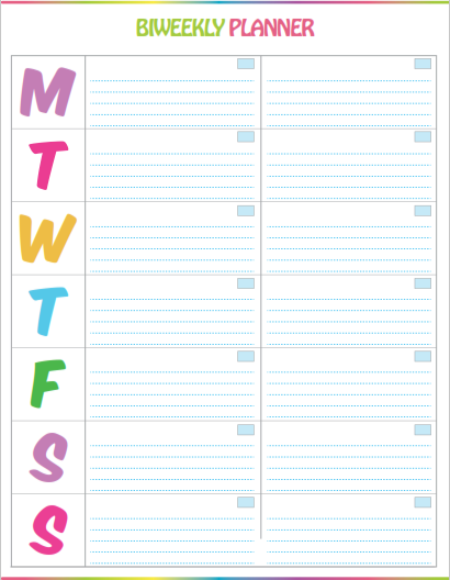 Biweekly To Do List with days of the week