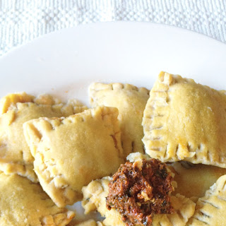 Gluten-Free Sun-dried Tomato and Hummus Ravioli.