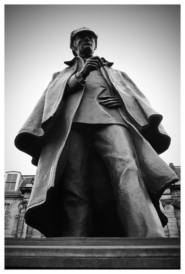 Sherlock by Alistair Forrest - Buildings & Architecture Statues & Monuments ( statue, holmes, edinburgh, black and white, doyle, conan, sherlock, arthur,  )