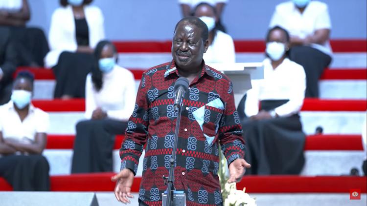 ODM leader Raila Odinga speaks during the memorial service of the Faith Evangelistic Ministry church in Karen, Nairobi on June 18, 2021.