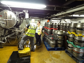 Photo: Putting the excellent real ale into casks at Elgood's.