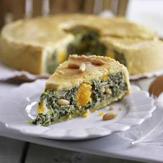 Italian Spinach Pie With Yogurt Sauce