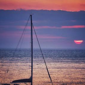 Sunset in Mykonos  by Aurelio Firmo - Transportation Boats ( sunset, mykonos, boat )