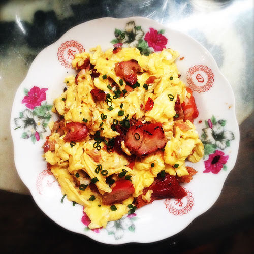 barbecued pork, BBQ pork, Char Siu, chinese, eggs, pork, recipe, scrambled eggs, stir fry, 叉燒, 炒蛋