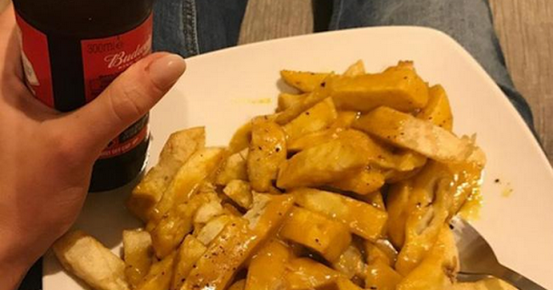 Gemma Atkinson eats chips and curry sauce after Strictly rehearsals