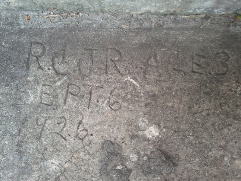 "Photo: Written in the concrete at the house where I live. ""R.C. JR AGE 3 SEPT 6 1926"""