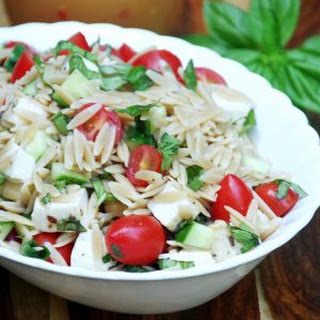 Italian Orzo Pasta Salad Recipe with Fresh Basil