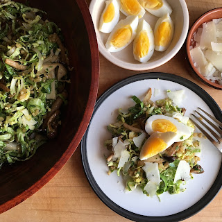 Shaved Brussels Sprouts Salad With Roasted Mushrooms & Wheat Berries