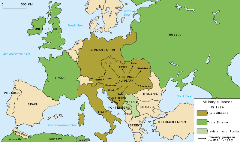 Map of Europe at the outbreak of World War I in 1914, with Germany, Austria, and Italy allied against Britain, France, and Russia.