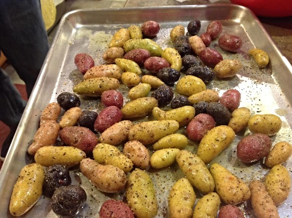 Now spread potatoes in a single layer onto a baking sheet, and sprinkle lightly...