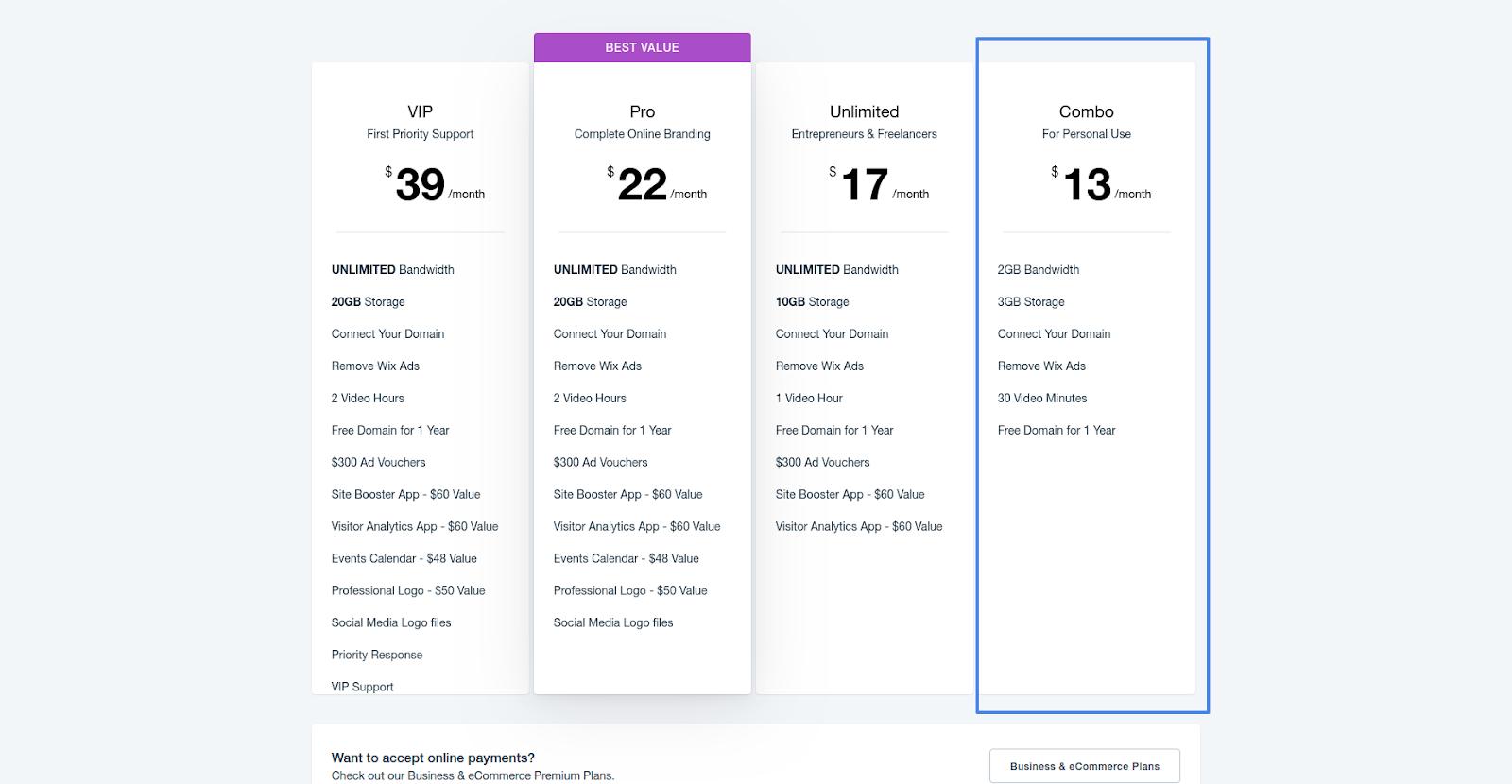 wix website builder pricing