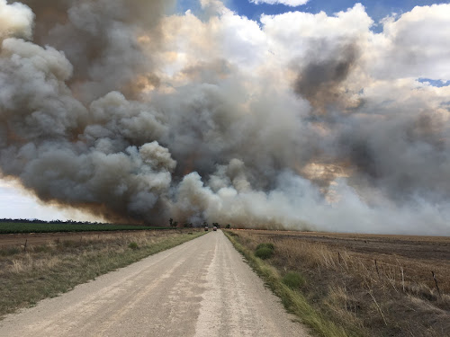 This is the view Narrabri Fire and Rescue firefighters had of the fire at Boggabri not long after it started. The firefighters were actually on their way to another fire further afield when they instead stayed to help with property protection closer to home.