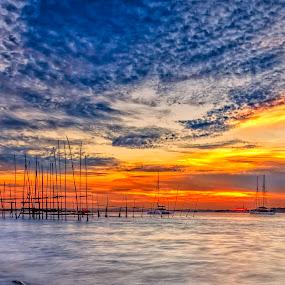 Textured sunset by GokulaGiridaran Mahalingam - Landscapes Sunsets & Sunrises ( textured sunset, changi, sunset, singapore,  )