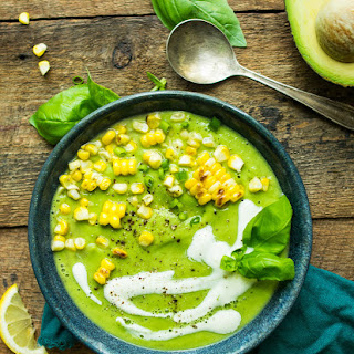 Chilled Cucumber Avocado Soup with Grilled Corn