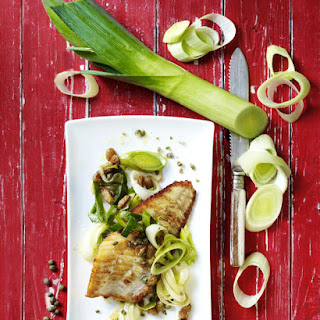 Turbot Fillet with Leeks, Capers and Raisins.