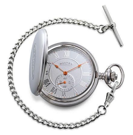 Dalvey Full Hunter Pocket Watch Blue White/Orange