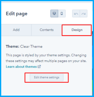 HubSpot edit theme settings