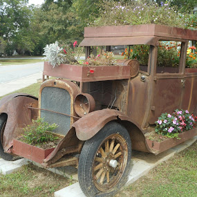 Antique Planter by David Jarrard - Artistic Objects Antiques ( beautiful old antique car used as antique cara flower garden so creative, botanical, flower gardens, contest cars )