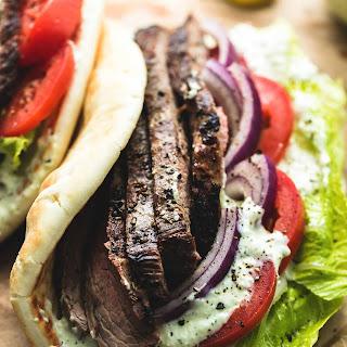 Steak Gyros with Tzatziki Cucumber Sauce.