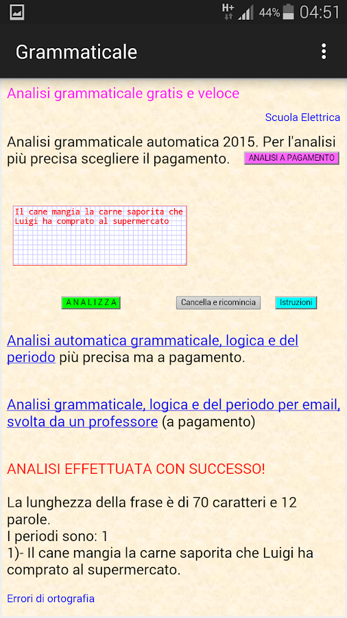 Analisi grammaticale italiana- screenshot
