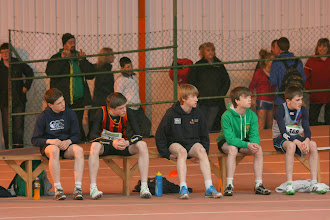 Photo: Daniel Ryan waiting for his National Boys U/14 60m Sprint final which he won in a time of 7.72sec.