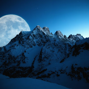 by Eden Meyer - Landscapes Mountains & Hills ( mountain, blue, night, full moon, landscape )