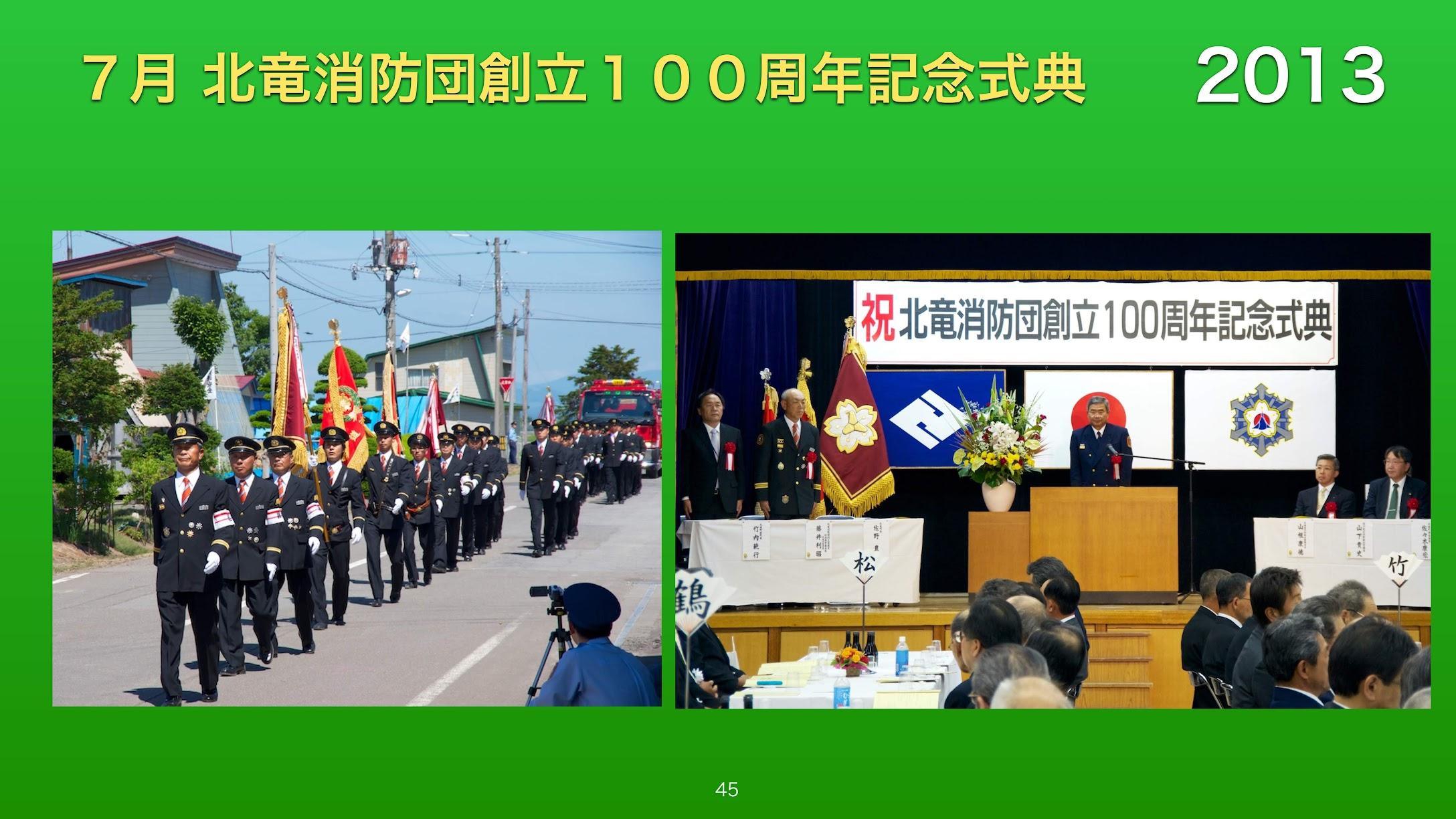 7月:北竜消防団創立100周年記念式典