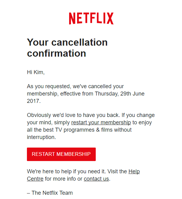 Your cancellation confirmation Netflix cancellation email