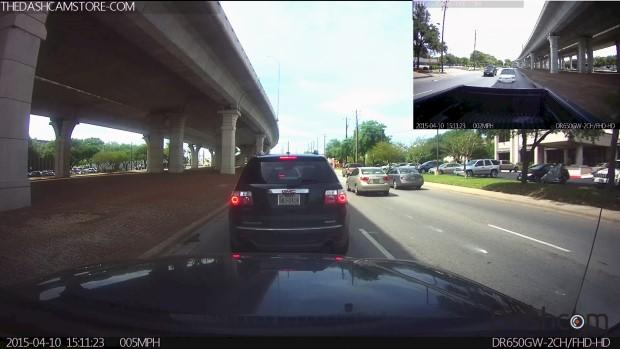 Dual-lens dashcam (with external/remote second lens) video still frame example thumbnail