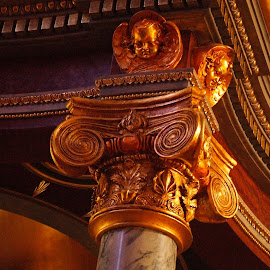 Golden column by Brenda Shoemake - Buildings & Architecture Architectural Detail