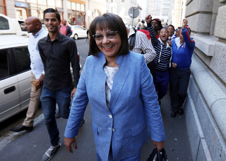 Mayor of Cape Town Patricia de Lille at the Western Cape High Court on May 15, 2018 after the judge ruled that the DA's cessation of her membership is suspended, effectively allowing De Lille to return to mayoral office.