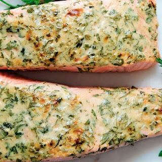 Broiled Salmon With Herbs And Mustard.