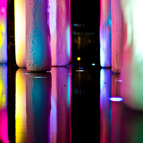 Different lights in water by Jorge Villalba - Abstract Fine Art ( las vegas, water, lights, colors, fountain, casino )