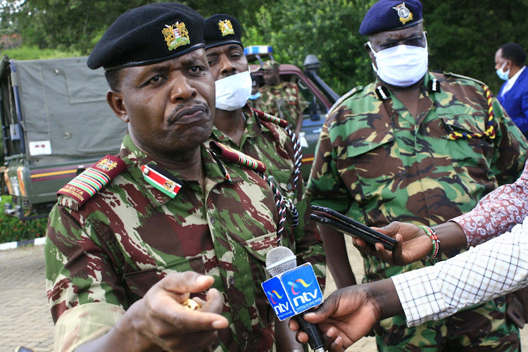 Rift Valley regional commissioner George Natembeya addressing media over security situation in Baringo on Wednesday. Said Kapedo suspended to let leaders preach peace