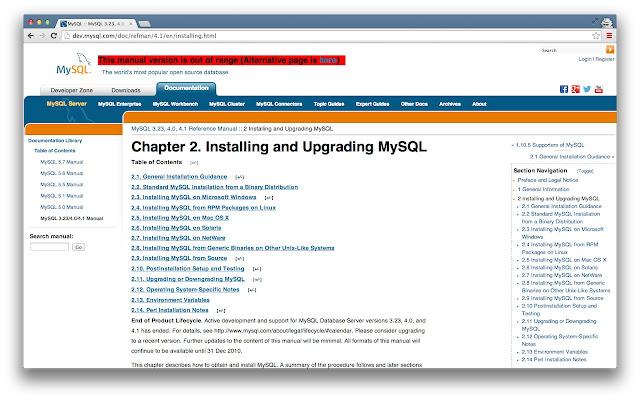 MySQL-Reference-Manual-Version-Checker