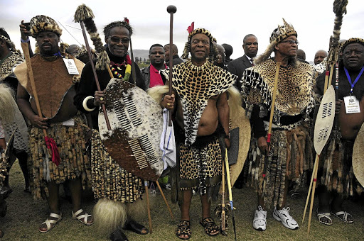 United in culture: IFP leader Mangosuthu Buthelezi (second from left), King Goodwill Zwelithini (centre) and President Jacob Zuma next to him Picture: SOWETAN