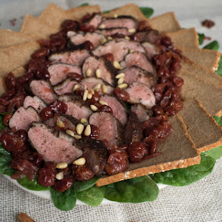 Duck with Cherries, Spinach & Pine Nuts.