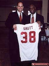 Photo: Prentice Gautt and OU Athletics Director Joe Castiglione.