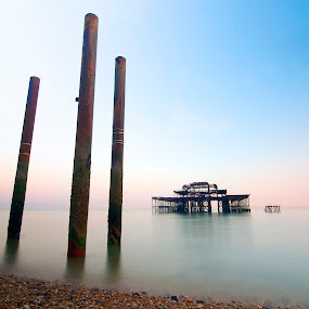 Brighton old west pier  uk  by Mark West - Landscapes Waterscapes