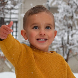 snow by Mark Warick - Babies & Children Child Portraits ( snow, background, yellow, winter, photo, boy, trees, photography, fashion )