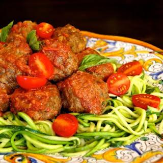 """Summer """"Spaghetti"""" and Pesto Meatballs {Gluten-Free Recipe}"""